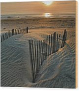 Sunrise Over Hatteras Wood Print by Steven Ainsworth