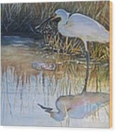 Sunset And Snowy Egret Wood Print by Patricia Pushaw
