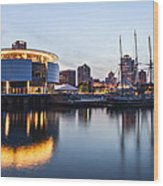 Sunset At The Dock Wood Print by CJ Schmit
