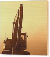 Sunset Excavator Wood Print by Olivier Le Queinec