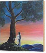 Sunset Fairy By Shawna Erback Wood Print by Shawna Erback