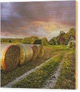 Sunset Farm Wood Print by Debra and Dave Vanderlaan