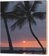 Sunset In Hawaii Wood Print by Athala Carole Bruckner