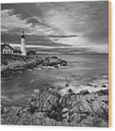 Sunset Lighthouse Wood Print by Jon Glaser