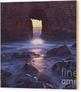Sunset On Arch Rock In Pfeiffer Beach Big Sur In California. Wood Print by Jamie Pham