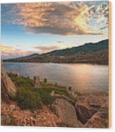 Sunset Over Horsetooth Wood Print by Preston Broadfoot