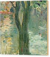 Sunset Over The Lake Bois De Boulogne Wood Print by Berthe Morisot