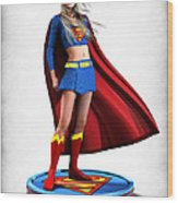 Super Girl V1 Wood Print by Frederico Borges