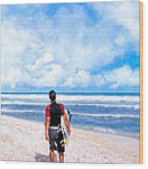 Surfer Hunting For Waves At Playa Del Carmen Wood Print by Mark E Tisdale