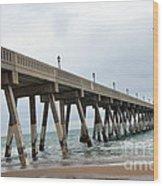Surreal Blue Sky Ocean Coastal Fishing Pier Seagull North Carolina Atlantic Ocean Wood Print by Kathy Fornal