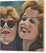 Susan Sarandon And Geena Davies Alias Thelma And Louise Wood Print by Paul Meijering