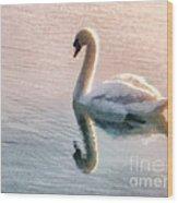 Swan On Lake Wood Print by Pixel  Chimp