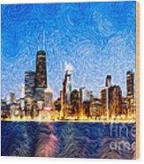 Swirly Chicago At Night Wood Print by Paul Velgos