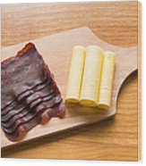Swiss Food - Dried Meat And Cheese Wood Print by Matthias Hauser