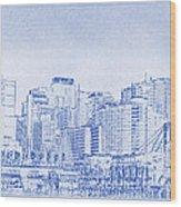 Sydney's Cockle Bay Blueprint Wood Print by Kaleidoscopik Photography