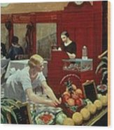 Tables For Ladies Wood Print by Edward Hopper