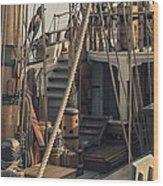 Tall Ship Kalmar Nyckel Ropes Wood Print by Dapixara Art