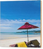 Tanning Beds On A Tropical Beach Koh Samui Thailand Wood Print by Fototrav Print
