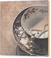 Teacup And Pearls Wood Print by Jan Bickerton