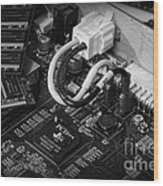 Technology - Motherboard In Black And White Wood Print by Paul Ward