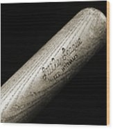 Ted Williams Little League Baseball Bat Bw Wood Print by Andee Design