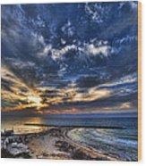 Tel Aviv Sunset At Hilton Beach Wood Print by Ron Shoshani