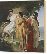 Telemachus And Eucharis Wood Print by Raymond Quinsac Monvoisin