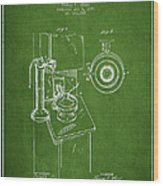 Telephone Patent Drawing From 1898 - Green Wood Print by Aged Pixel