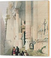 Temple Called El Khasne Wood Print by David Roberts