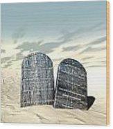 Ten Commandments Standing In The Desert Wood Print by Allan Swart
