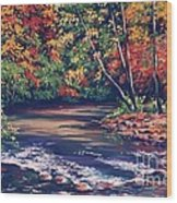 Tennessee Stream In The Fall Wood Print by John Clark