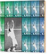 Tennis Serve Mosaic Abstract Wood Print by Natalie Kinnear