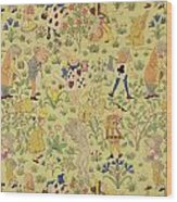 Textile Design For Alice In Wonderland Wood Print by Voysey