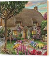 Thatched Cottage Wood Print by Adrian Chesterman