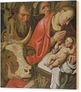 The Adoration Of The Shepherds Wood Print by Pieter Aertsen