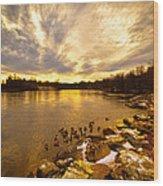 The Androscoggin River Between Lewiston And Auburn Wood Print by Bob Orsillo