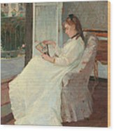 The Artist's Sister At A Window Wood Print by Berthe Morisot