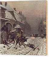 The Attack At Dawn Wood Print by Alphonse Marie De Neuville