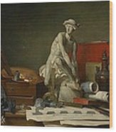 The Attributes Of The Arts And The Rewards Which Are Accorded Them Wood Print by Jean Baptiste Simeon Chardin