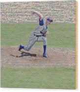 The Big Baseball Pitch Digital Art Wood Print by Thomas Woolworth