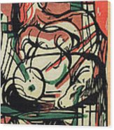 The Birth Of The Horse Wood Print by Franz Marc