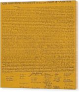 The Declaration Of Independence In Orange Wood Print by Rob Hans