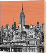The Empire State Building Pantone Nectarine Wood Print by John Farnan