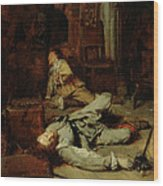 The End Of The Game Of Cards Wood Print by Jean Louis Ernest Meissonier