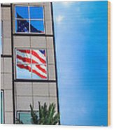 The Flag That Never Hides Wood Print by Rene Triay Photography