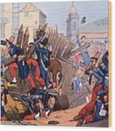The French Legion Storming A Carlist Wood Print by English School