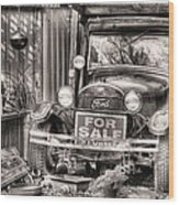 The Garage Sale Black And White Wood Print by JC Findley