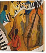 The Get-down Jazz Quintet Wood Print by Larry Martin