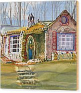 The Gingerbread House Wood Print by Kris Parins
