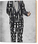 The Godfather Inspired Don Vito Corleone Typography Artwork Wood Print by Ayse Deniz